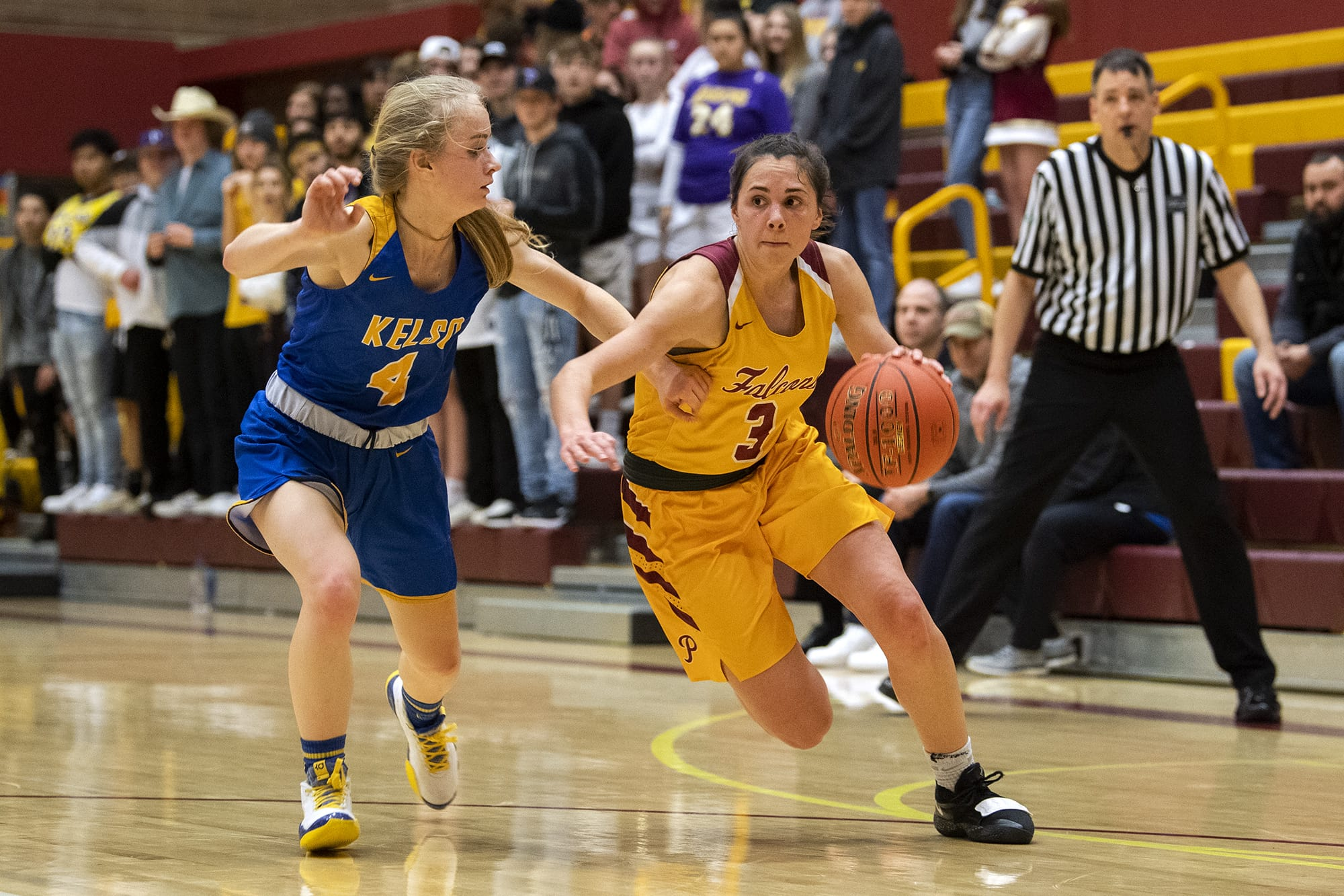 Kelso's Alexis Kleven (4) defends Prairie's Meri Dunford (3) during Tuesday night's game at Prairie High School in Vancouver on Jan. 28, 2020.