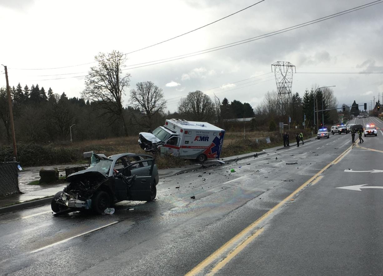 Deputies responded Tuesday to Northeast Hazel Dell for a fatal crash involving a car and an ambulance. Two people inside the ambulance, which wasn't transporting a patient, suffered injuries not believed to be life threatening.