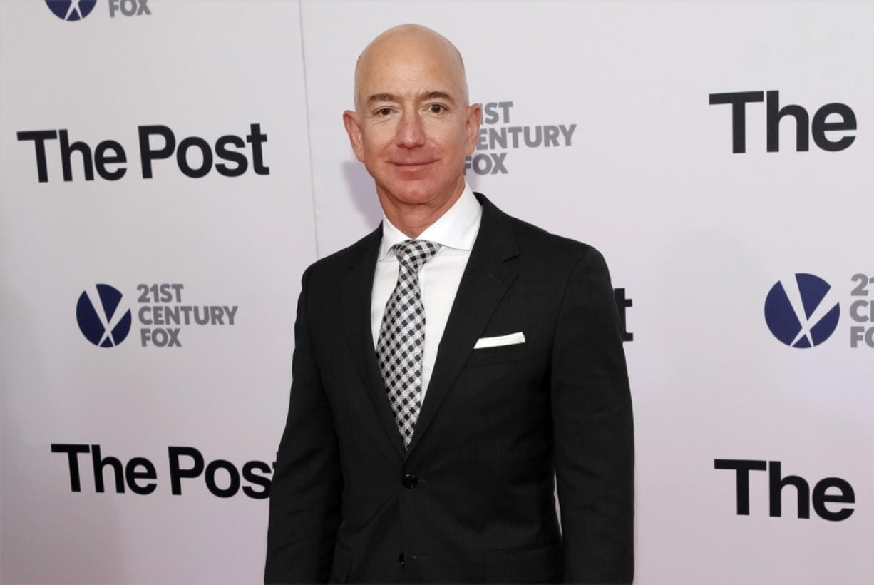 """FILE - In this Dec. 14, 2017, file photo, Jeff Bezos attends the premiere of """"The Post"""" at The Newseum in Washington. United Nations experts on Wednesday, Jan. 22, 2020 have called for """"immediate investigation"""" by the United States into information they received that suggests that Jeff Bezos' phone was hacked after receiving a file sent from Saudi Crown Prince Mohammed bin Salman's WhatsApp account. (Photo by Brent N."""