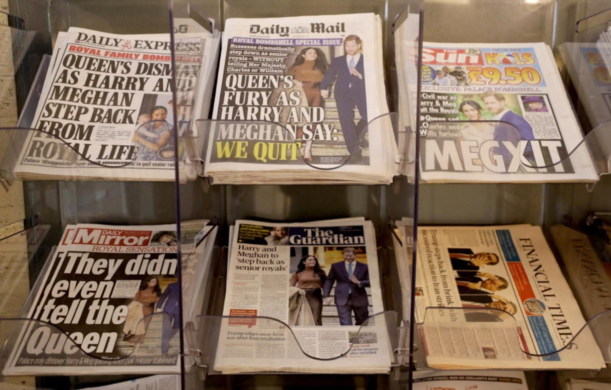 "Newspapers are seen for sale in London, Thursday, Jan. 9, 2020. In a statement Prince Harry and his wife, Meghan, said they are planning ""to step back"" as senior members of the royal family and ""work to become financially independent.""(AP Photo/Kirsty Wigglesworth) (Associated Press files)"