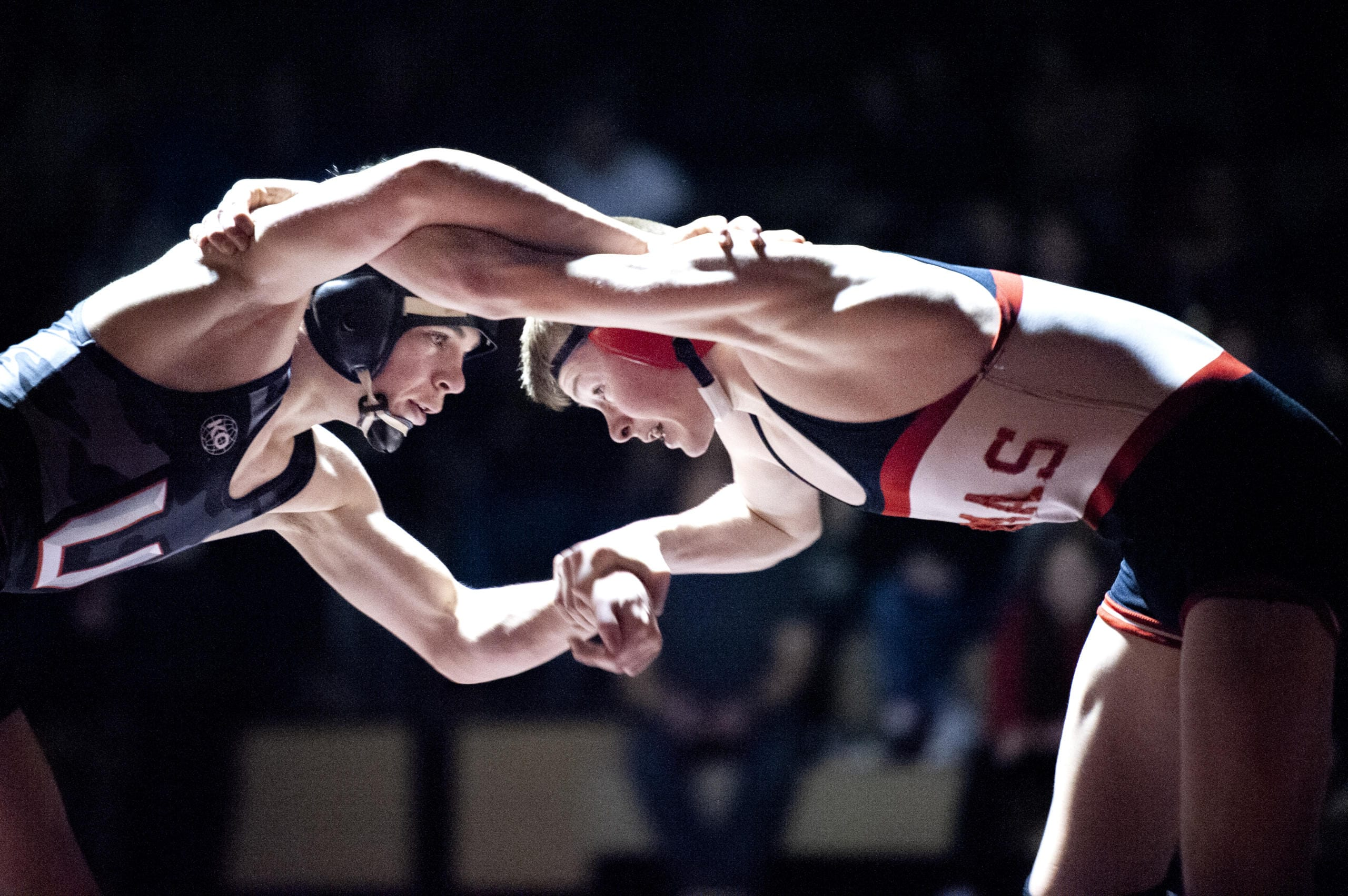 Camas' Porter Craig (113) won by third-round pin over Union's Spencer Needham in a 4A Greater St. Helens League dual on Wednesday in Camas. The Titans won 54-19. (Joshua Hart/The Columbian)