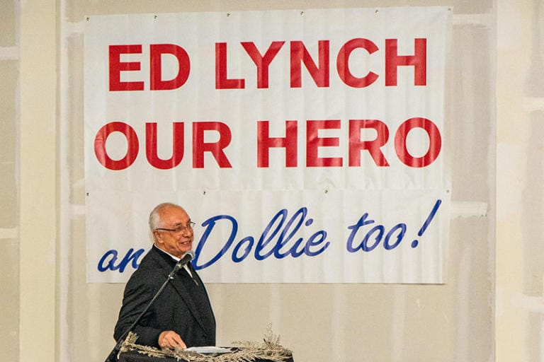 Michael Lynch, son of Ed and Dollie, shared his thoughts with the crowd.