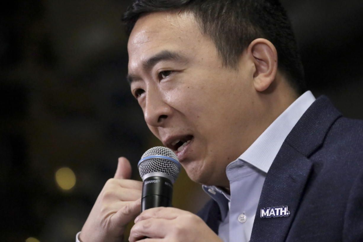 Democratic presidential candidate Andrew Yang speaks during a campaign event at To Share Brewing Co., Wednesday, Jan. 8, 2020, in Manchester, N.H.