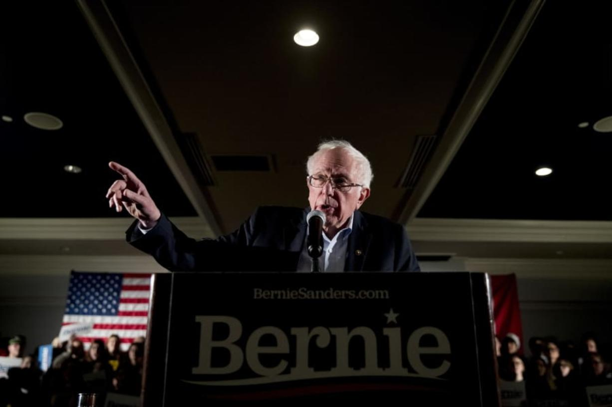 Democratic presidential candidate Sen. Bernie Sanders, I-Vt., speaks at a climate rally with the Sunrise Movement at The Graduate Hotel, Sunday, Jan. 12, 2020, in Iowa City, Iowa.