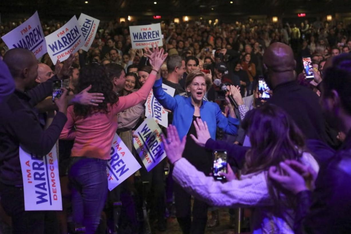 Democratic presidential candidate Sen. Elizabeth Warren, D-Mass., arrives at a campaign event, Tuesday Jan. 7, 2020, at Brooklyn's Kings Theatre in New York.