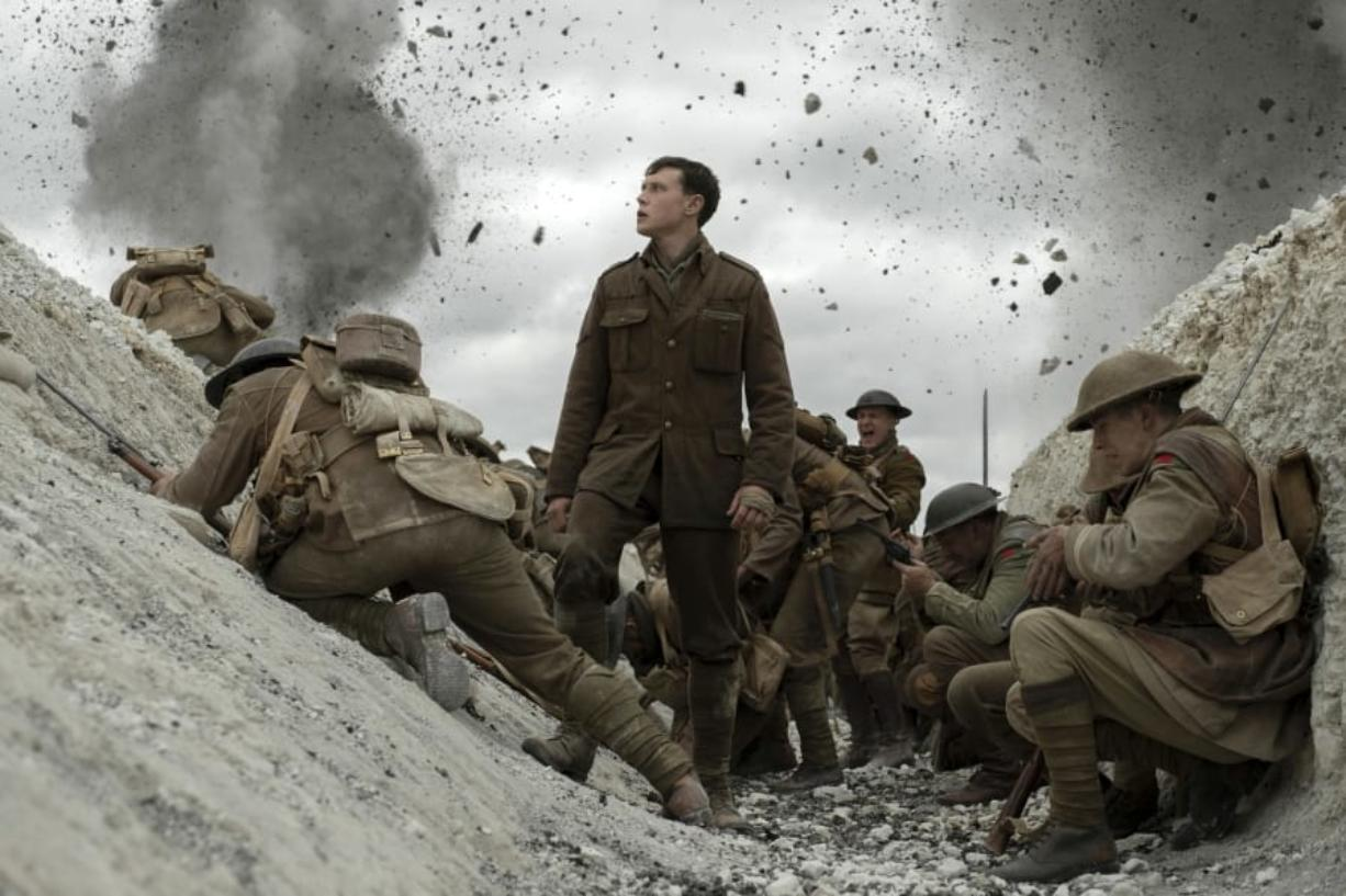 "George MacKay, center, in a scene from ""1917,"" directed by Sam Mendes. (Francois Duhamel/Universal Pictures)"