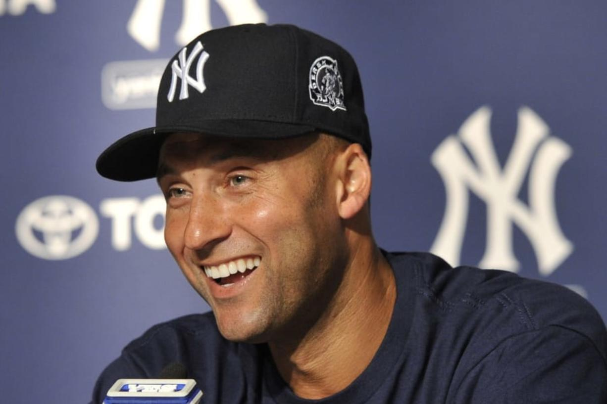 New York Yankees' Derek Jeter was elected to the Baseball Hall of Fame with 99.7 percent of the vote, announced Tuesday, Jan. 21, 2020. (AP Photo/Kathy Kmonicek)