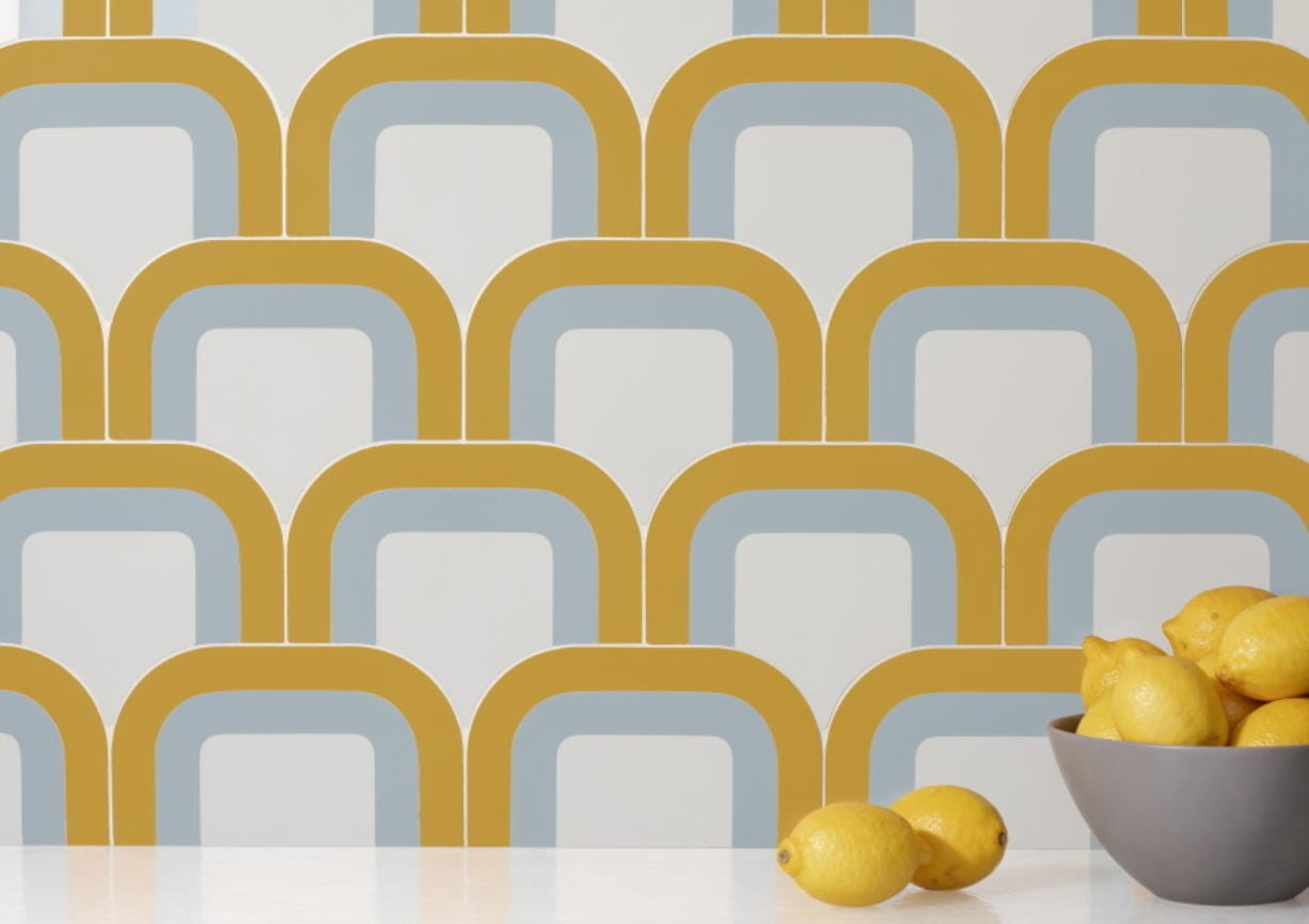 Tile by Australian designer Pietta Donovan, who has created a hip collection of cement tile inspired by the kaleidoscopic shapes, curvy profiles and distinct colorways of '70s wallpaper.