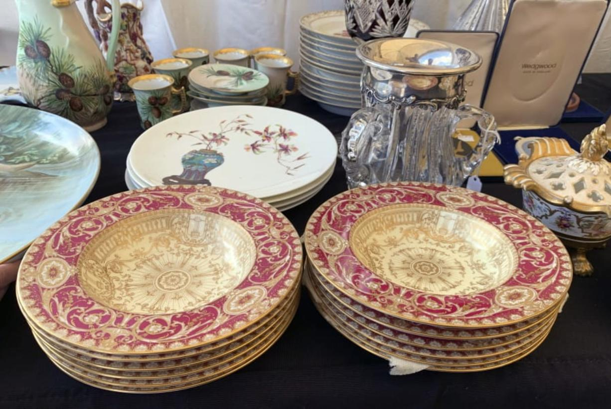 Some of the china for sale at a flea market in Brimfield, Mass. China has become a staple at flea markets, as younger people opt to sell or donate heirloom dishware. (Photos by Tracee Herbaugh)