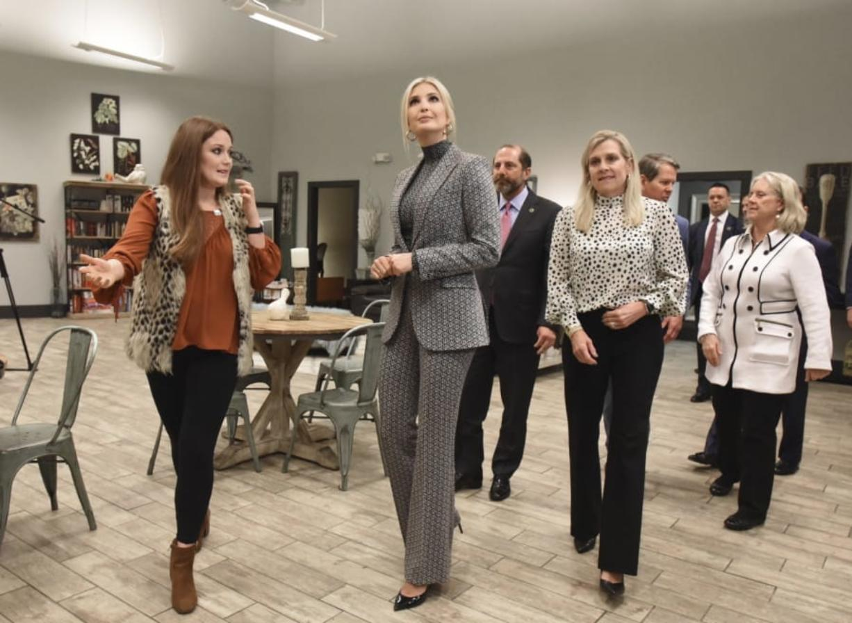 Kelsi Deel, left,, director, explains as Advisor to the President Ivanka Trump tours a local safe haven in Atlanta, Tuesday, Jan. 14, 2020. Ivanka Trump toured two facilities on Tuesday that help survivors in downtown Atlanta. President Donald Trump has listed fighting sex trafficking as a priority, as has the Kemp administration and Marty Kemp.