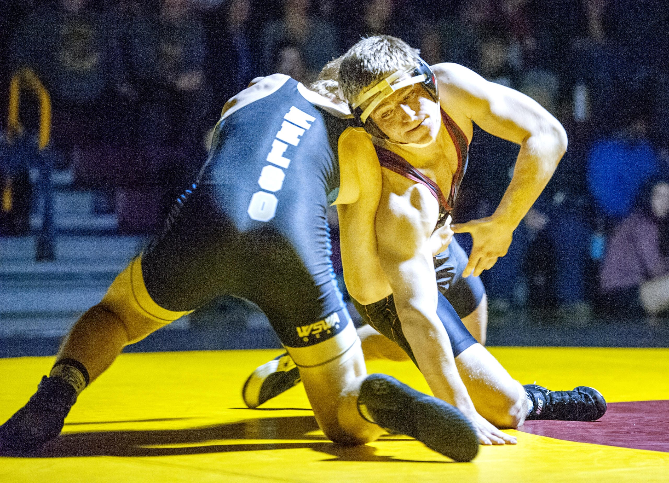 Prairie's Easton Lane (182) earned a second-round pin over Kelso's Micahael Hause in a 3A Greater St. Helens League dual on Wednesday at Prairie High School. (Joshua Hart/The Columbian)