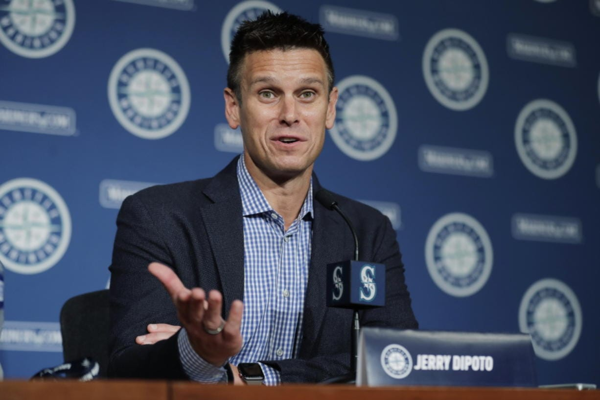 Seattle Mariners general manager Jerry Dipoto speaks Thursday, Jan. 23, 2020, in Seattle during the Seattle Mariners annual news conference before the start of Spring Training baseball. (AP Photo/Ted S. Warren)