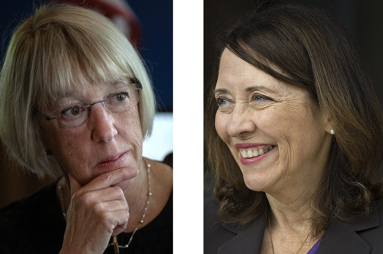 Democratic U.S. Sens. Patty Murray, left, and Maria Cantwell of Washington