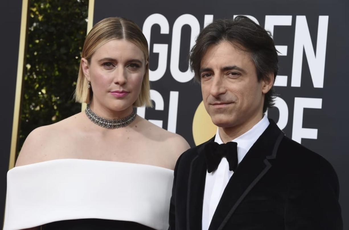 "FILE - This Jan. 5, 2020 file photo shows director Greta Gerwig, left, and Noah Baumbach at the 77th annual Golden Globe Awards in Beverly Hills, Calif. Both Gerwig and Baumback failed to receive Oscar nominations for best director for their film ""Little Women"" and ""Marriage Story,"" respectively, but they did receive nominations for adapted screenplay for Gerwig and original screenplay for Baumbauch."