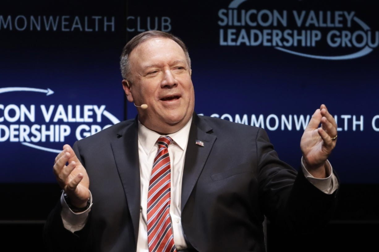 Secretary of State Mike Pompeo gestures while speaking at the Commonwealth Club in San Francisco, Monday, Jan. 13, 2020.