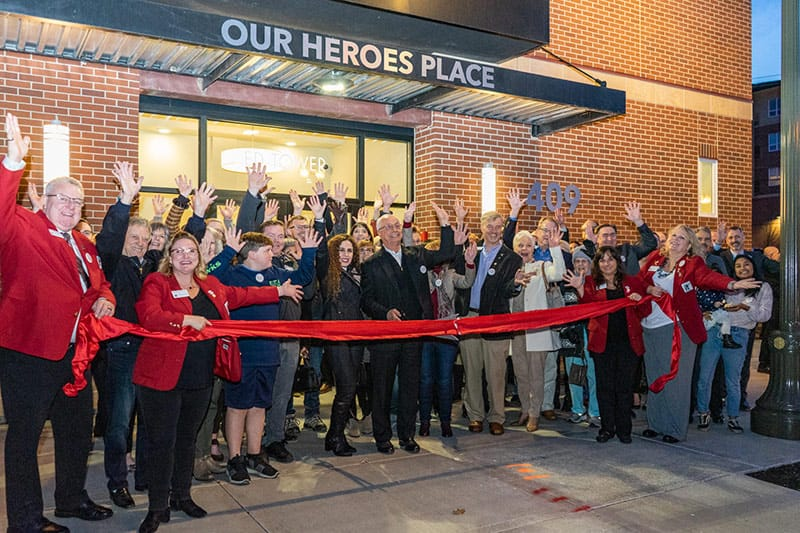 The Grand Opening of Our Heroes Place was commemorated with the official Ribbon Cutting ceremony.