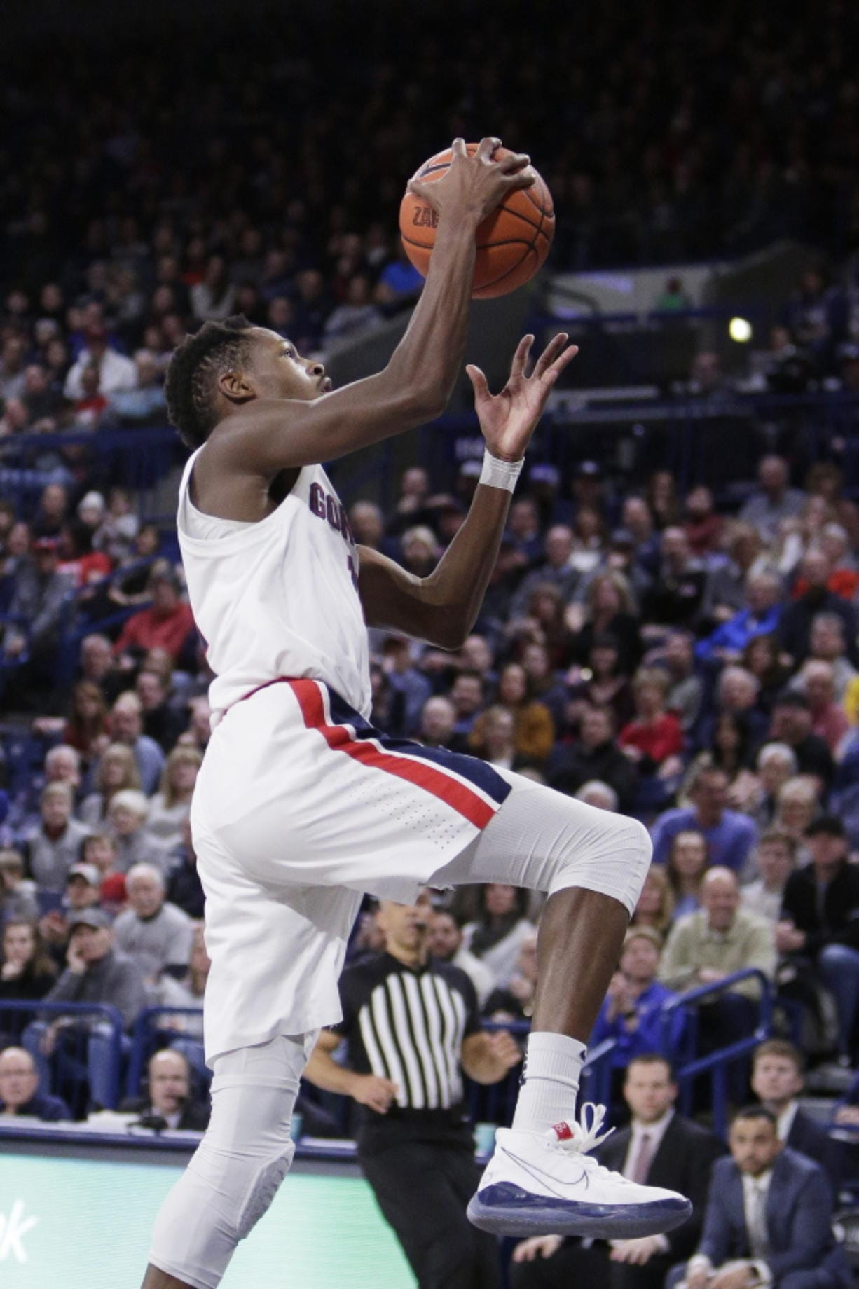 Gonzaga guard Joel Ayayi goes up for a layup during the first half of the team's NCAA college basketball game against Santa Clara in Spokane, Wash., Thursday, Jan. 16, 2020.
