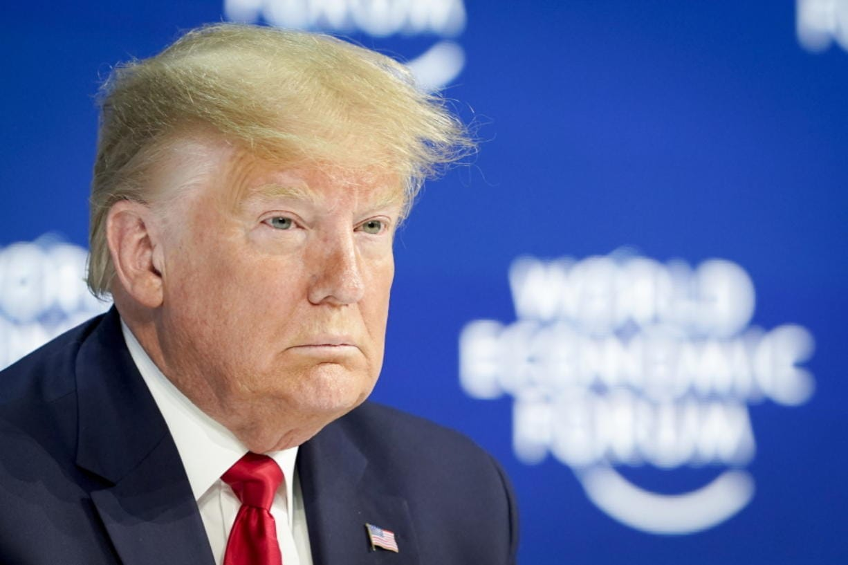 US President Donald Trump waits on stage before addressing a plenary session of the World Economic Forum in Davos, Switzerland, Tuesday, Jan. 21, 2020. The 50th annual meeting of the forum will take place in Davos from Jan. 21 until Jan. 24, 2020.