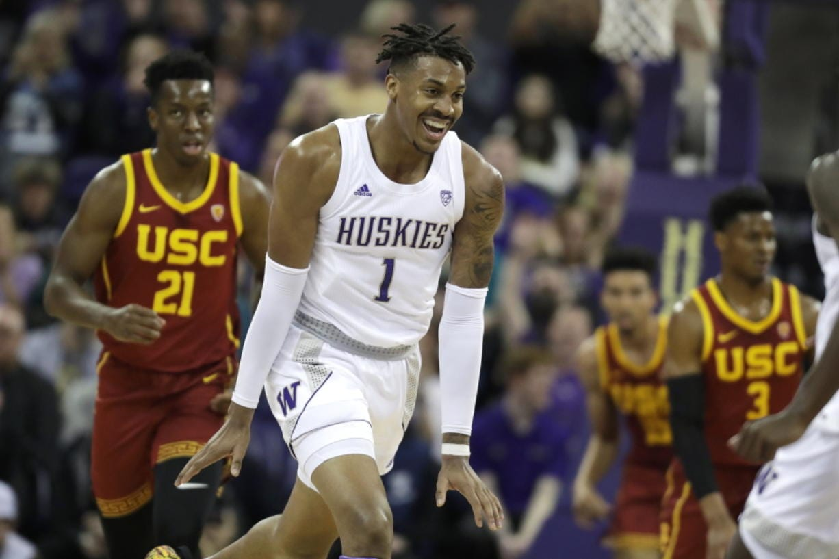 Washington forward Nate Roberts (1) reacts to a play against Southern California during the first half of an NCAA college basketball game, Sunday, Jan. 5, 2020, in Seattle. (AP Photo/Ted S.
