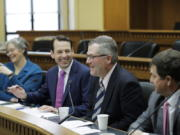 From left, House Speaker Designate Laurie Jinkins, D-Tacoma, Senate Majority Leader Andy Billig, D-Spokane, House Minority Leader J.T. Wilcox, R-Yelm, and Senate Minority Leader Mark Schoesler, R-Ritzville, take part in the AP Legislative Preview, Thursday, Jan. 9, 2020, at the Capitol in Olympia, Wash. (AP Photo/Ted S.