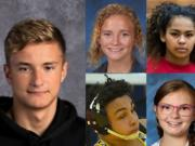 Week 5 winter sports prep athlete of the week Ilia Zablotovskii of Evergreen swimming with other nominees (clockwise from top left) Tyla Engstrom of Ridgefield wrestling, Jaydia Martin of Hudson's Bay basketball, CJ Hamblin of Seton Catholic wrestling and Anna Gatlin of Prairie bowling