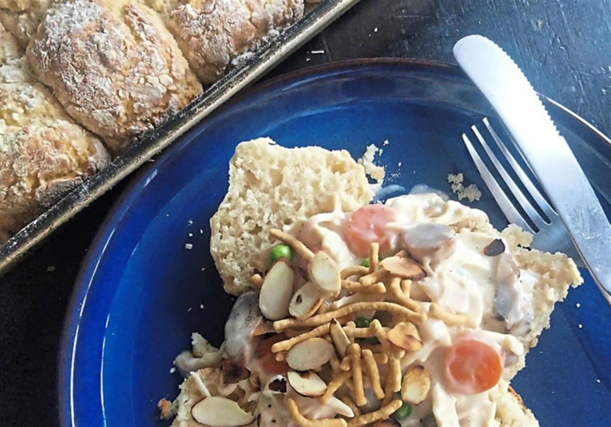 Creamed chicken over biscuits is classic comfort food. (Gretchen McKay/Pittsburgh Post-Gazette/TNS)