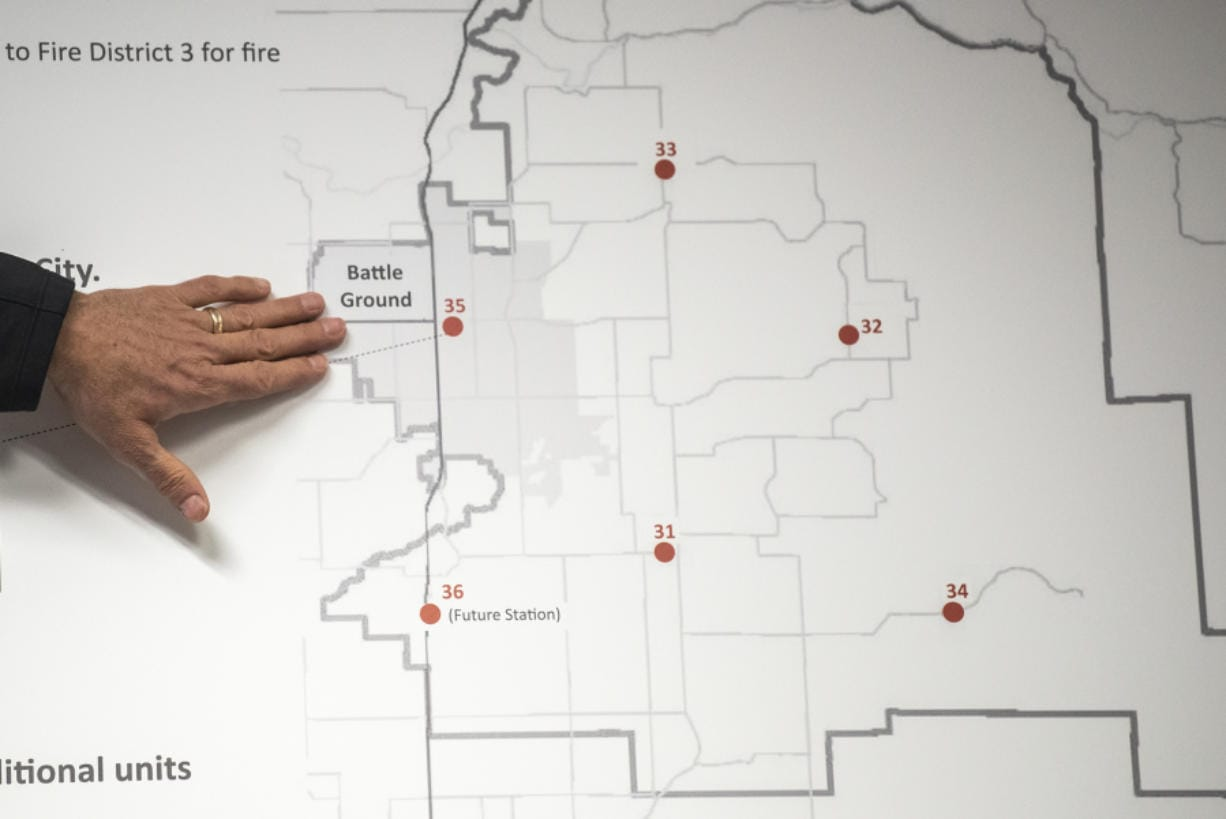 Fire District 3 Commissioner Rick Steele talks about the impact of annexing Battle Ground into the district during an informational meeting earlier this month. (Nathan Howard/The Columbian)