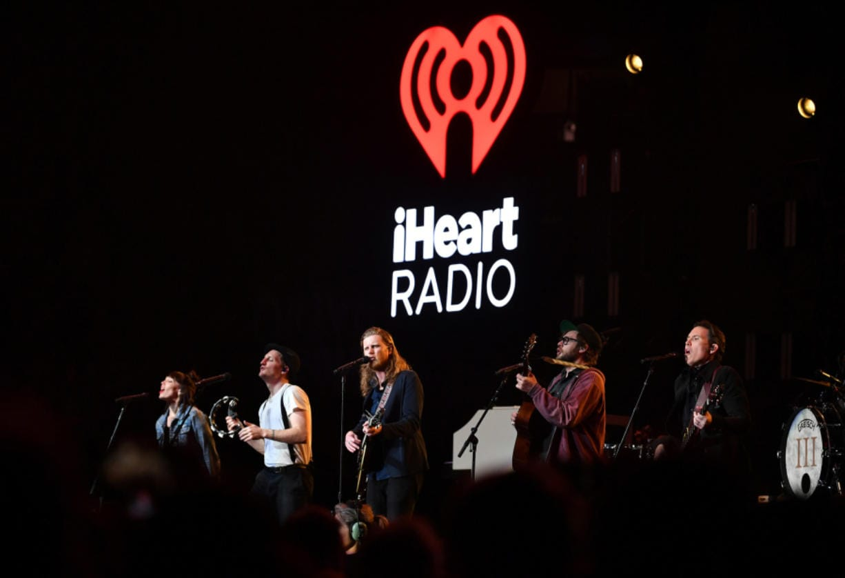 From left, Lauren Jacobson, Jeremiah Fraites, Wesley Schultz, Stelth Ulvang, and Byron Isaacs of The Lumineers perform onstage at the 2020 iHeartRadio ALTer EGO at The Forum on Jan. 18, 2020 in Inglewood, Calif.