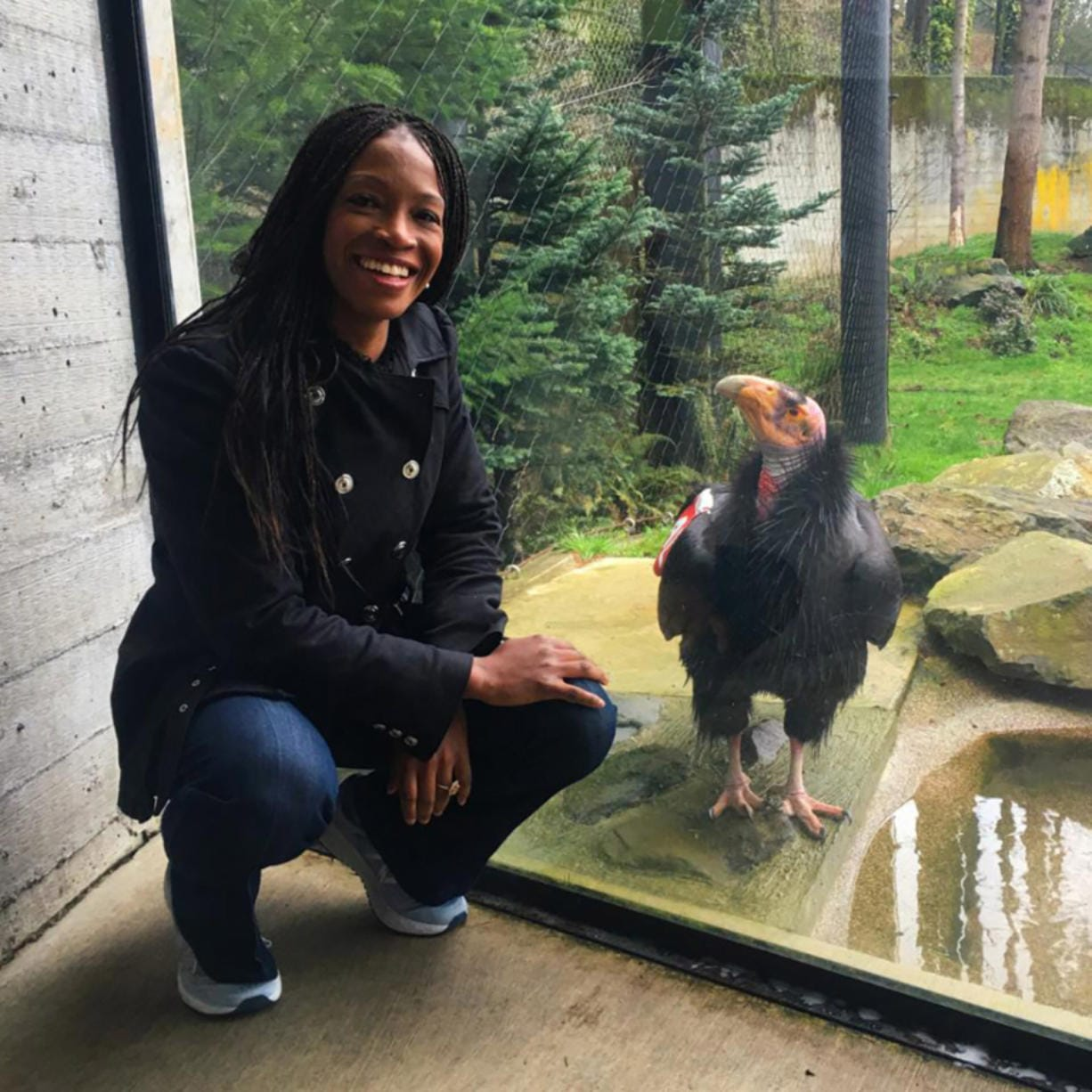 Aurelia Skipwith, the new director of the U.S. Fish and Wildife Service, poses with a friend. Skipwith sat down recently with The Columbian for an interview at the Northwest Sportsmen's Show in Portland.