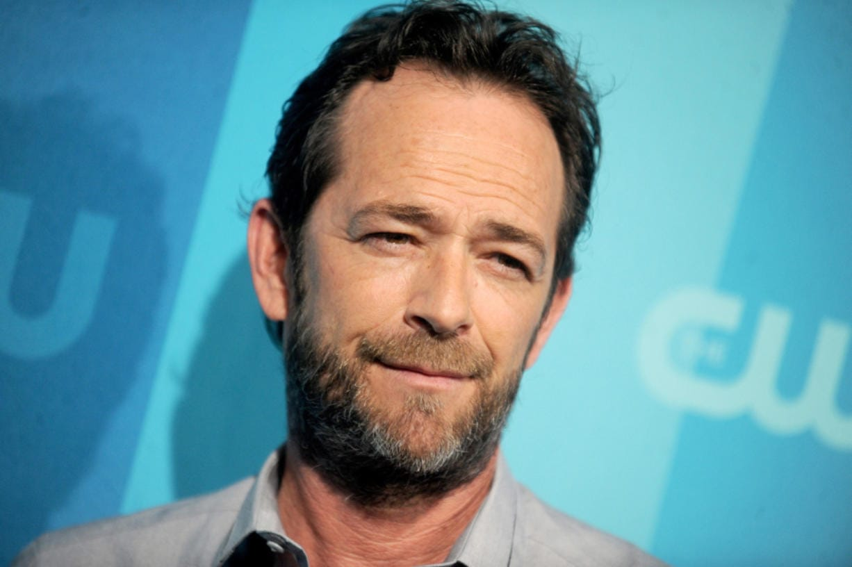 Luke Perry attends the CW Upfront in New York in 2017. Perry's omission from the motion picture academy's In Memoriam segment at the Oscars did not go unnoticed by fans.