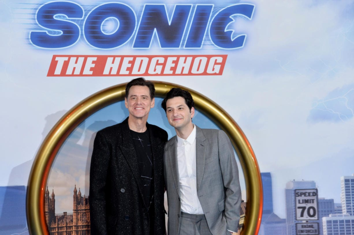 "Jim Carrey, left, and Ben Schwartz attend the ""Sonic the Hedgehog"" London Fan Screening at Vue Westfield on Jan. 30 in London. (Jeff Spicer/Getty Images for Paramount Pictures)"