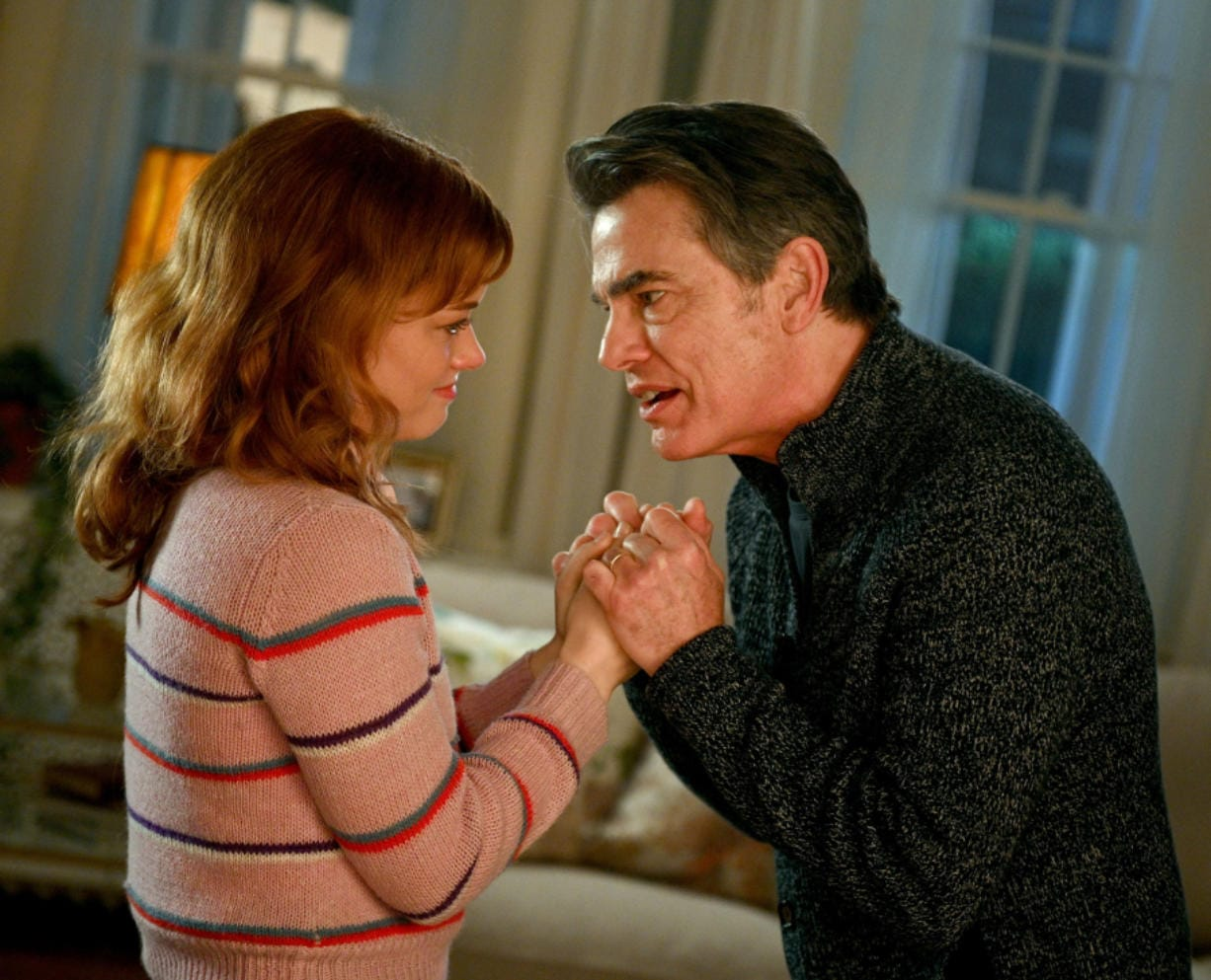 """Peter Gallagher, right, and Jane Levy in a scene from """"Zoey's Extraordinary Playlist"""" on NBC. (Sergei Bachlakov/NBC)"""