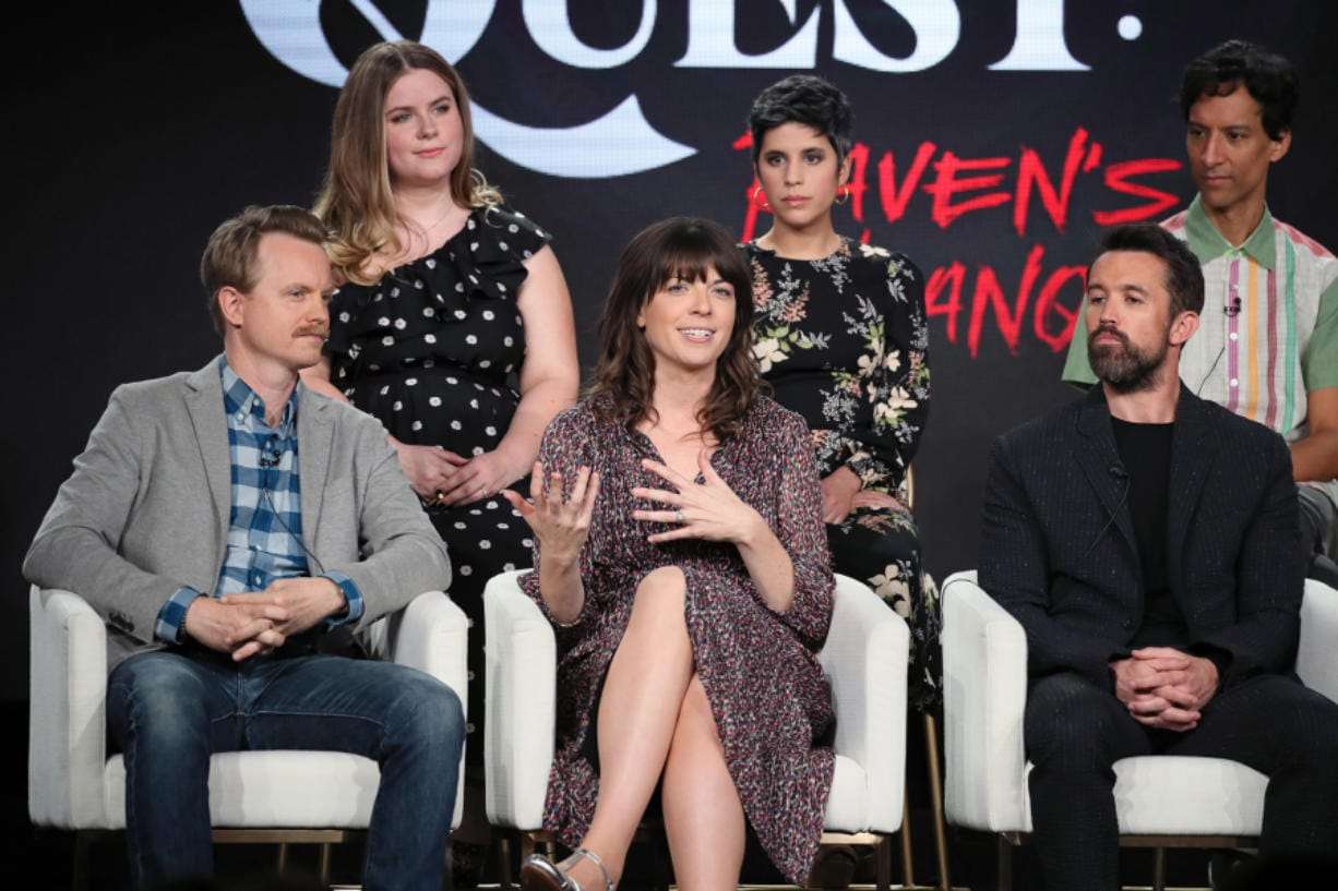 """David Hornsby, from left, Jessie Ennis, Megan Ganz, Ashly Burch, Rob McElhenney and Danny Pudi of """"Mythic Quest: Raven's Banquet"""" speak during the 2020 Winter TCA Tour at The Langham Huntington, Pasadena in Pasadena, Calif. (David Livingston/Getty Images)"""