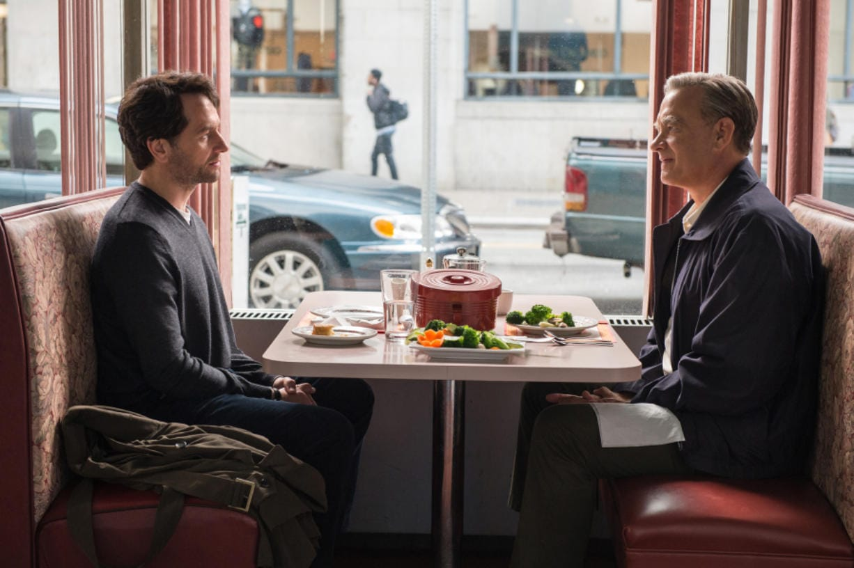 """Tom Hanks, right, and Matthew Rhys in """"A Beautiful Day in the Neighborhood."""" (Lacey Terrell/Sony Pictures Entertainment)"""