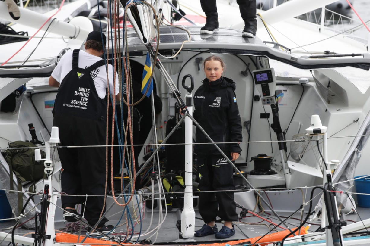 Swedish climate activist Greta Thunberg arrives in the U.S. after a 15-day journey crossing the Atlantic in the Malizia II, a zero-carbon yacht, in New York City on Aug. 28.