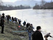 Smelt dipping is as much a social event as a fishery. Friends and family gather along the Cowlitz River bank on Friday, Feb. 14, 2020, to enjoy what can only be described as a festival atmosphere.