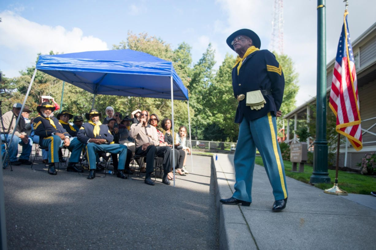 Frazier Raymond Jr., president of the Moses Williams Pacific Northwest Chapter of the Buffalo Soldiers, gets ready to speak at the 2019 dedication of a new Buffalo Soldiers memorial at Fort Vancouver.