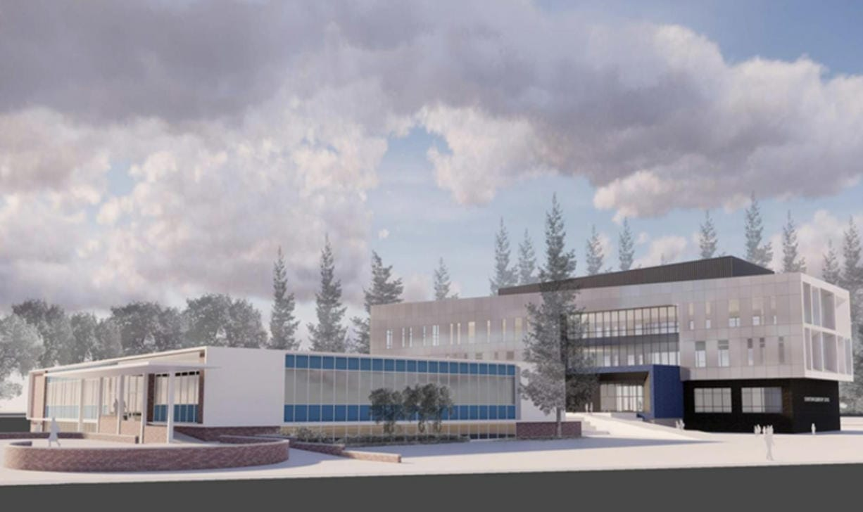 Renderings of VITA Elementary School, the proposed Vancouver Public Schools school-of-choice across from Hudson's Bay High School on East Mill Plain Boulevard.