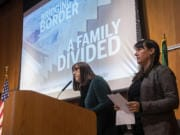 """Nathan Howard/The Columbian Assistant Metro Editor Jessica Prokop, left, and Photo Editor Amanda Cowan speak about their reporting of """"Bridging the Border."""""""