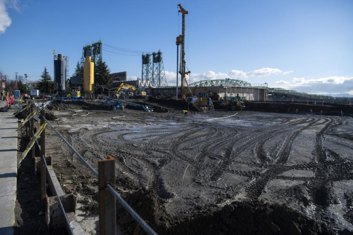 Crews are performing preliminary ground stabilization at the site of the future AC Hotel by Marriott at the Port of Vancouver's Terminal 1 redevelopment site. The work is expected to wrap up within a month. (Alisha Jucevic/The Columbian)