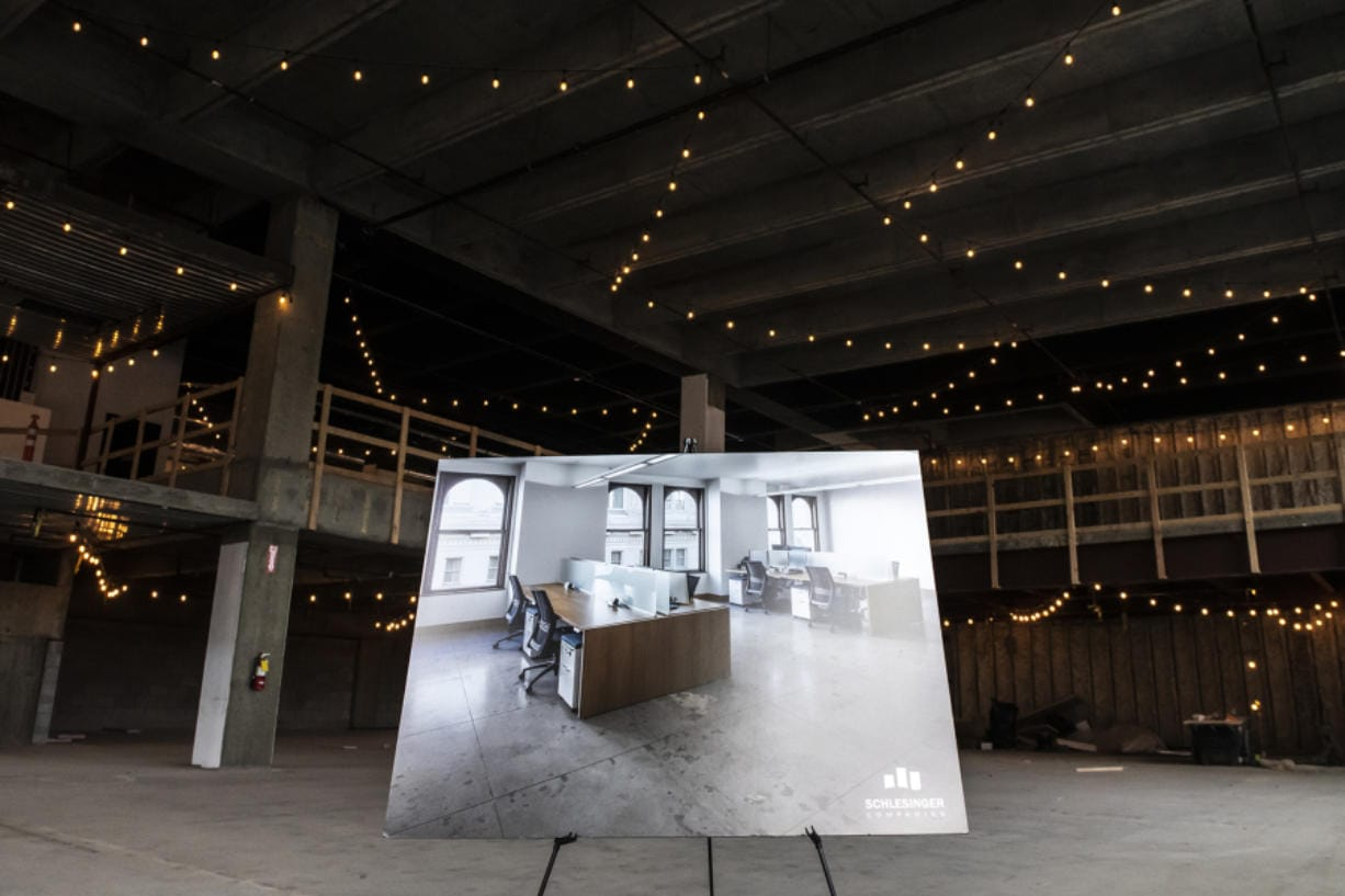 The unfinished interior of the 805 Broadway building in Vancouver is available for rent and for a tenant to customize the space.