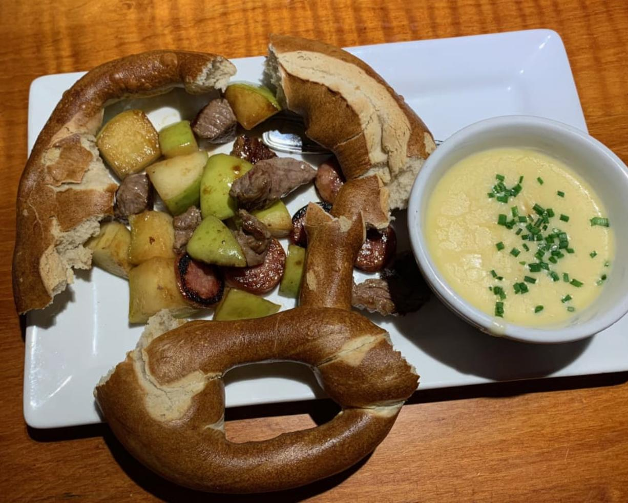 Beer Cheese Fondue at Fargher Lakehouse in Yacolt was unattractively plated.