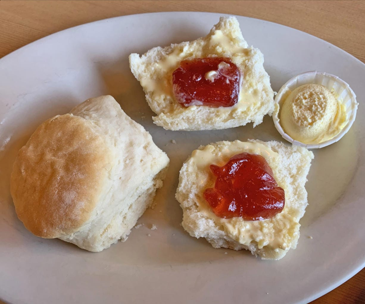 Side order of biscuits at Hockinson Cafe. (Photos by Rick Browne for The Columbian)