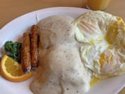 Biscuits and gravy with eggs and sausage at Hockinson Cafe.