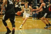 Union senior Tanner Toolson finds a lane against Kentlake at Union High School on Tuesday, January 21, 2020. Union beat Kentlake 75-56 to move to the second round of the 4A bi-district boys basketball tournament.(Samuel Wilson for the Columbian)