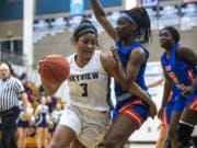 Skyview's Mikelle Anthony drives to the hoop against Auburn during a game at Skyview High School on Thursday night, Feb. 13, 2020.