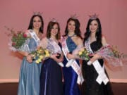Title winners at the 2020 Miss Clark County Scholarship Organization Pageant, held Feb. 23, were: Glory Boieriu, Miss Greater Vancouver, from left; Emma Boonabi-Mirfathali, Miss Greater Vancouver's Outstanding Teen; Morgan Greco, Miss Clark County's Outstanding Teen; and Annie Straight, Miss Clark County.