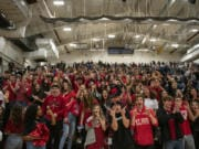 Union High School's student section celebrates their team's win over Gonzaga Prep at Battle Ground High School on Saturday evening, Feb. 29, 2020.