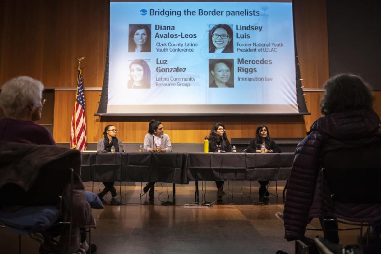 Diana Avalos-Leos, right, speaks during The Columbian's Bridging the Border community forum Feb. 13 at Vancouver Community Library.