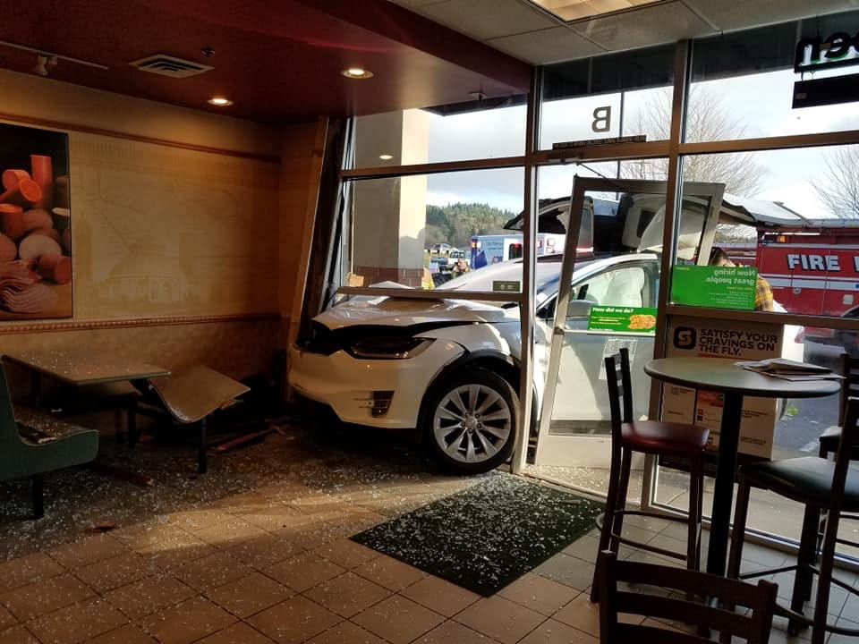 One person was injured Sunday when the car they were riding in malfunctioned and crashed into a Subway restaurant in Woodland.